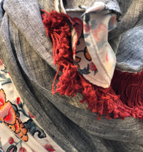 Load image into Gallery viewer, Twin Fabric, Gray and Red Floral Scarf - מטפחות - כיסוי ראש - Aviva Lush tichels, head scarves, volumizers