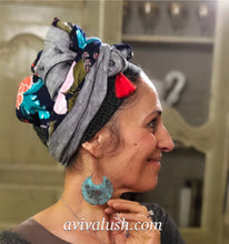 Load image into Gallery viewer, Linen Rayon Floral print Scarf With Red Tassels - מטפחות - כיסוי ראש - Aviva Lush tichels, head scarves, volumizers
