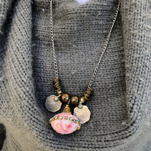 Pink Pendant Necklace With Rupee Coins - מטפחות - כיסוי ראש - Aviva Lush tichels, head scarves, volumizers
