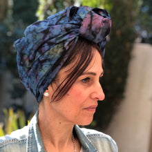 Load image into Gallery viewer, Cotton Tie Dyed Scarf in Blue with Pink Tassels - מטפחות - כיסוי ראש - Aviva Lush tichels, head scarves, volumizers