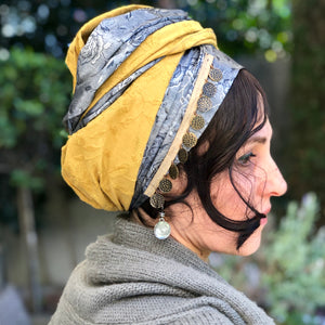 Embroidered Mustard and Dark Silver Scarf - מטפחות - כיסוי ראש - Aviva Lush tichels, head scarves, volumizers