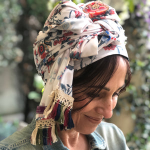 Red And Gray Floral Scarf on White - מטפחות - כיסוי ראש - Aviva Lush tichels, head scarves, volumizers