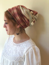 Load image into Gallery viewer, Red Checked/Striped Cotton Scarf - מטפחות - כיסוי ראש - Aviva Lush tichels, head scarves, volumizers