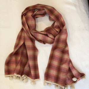 Red Checked Cotton Scarf - מטפחות - כיסוי ראש - Aviva Lush tichels, head scarves, volumizers