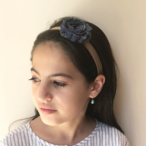Single Denim Flower Headband - מטפחות - כיסוי ראש - Aviva Lush tichels, head scarves, volumizers