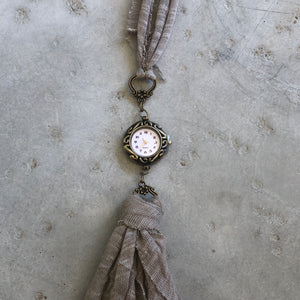 Taupe Fabric Watch Necklace - מטפחות - כיסוי ראש - Aviva Lush tichels, head scarves, volumizers
