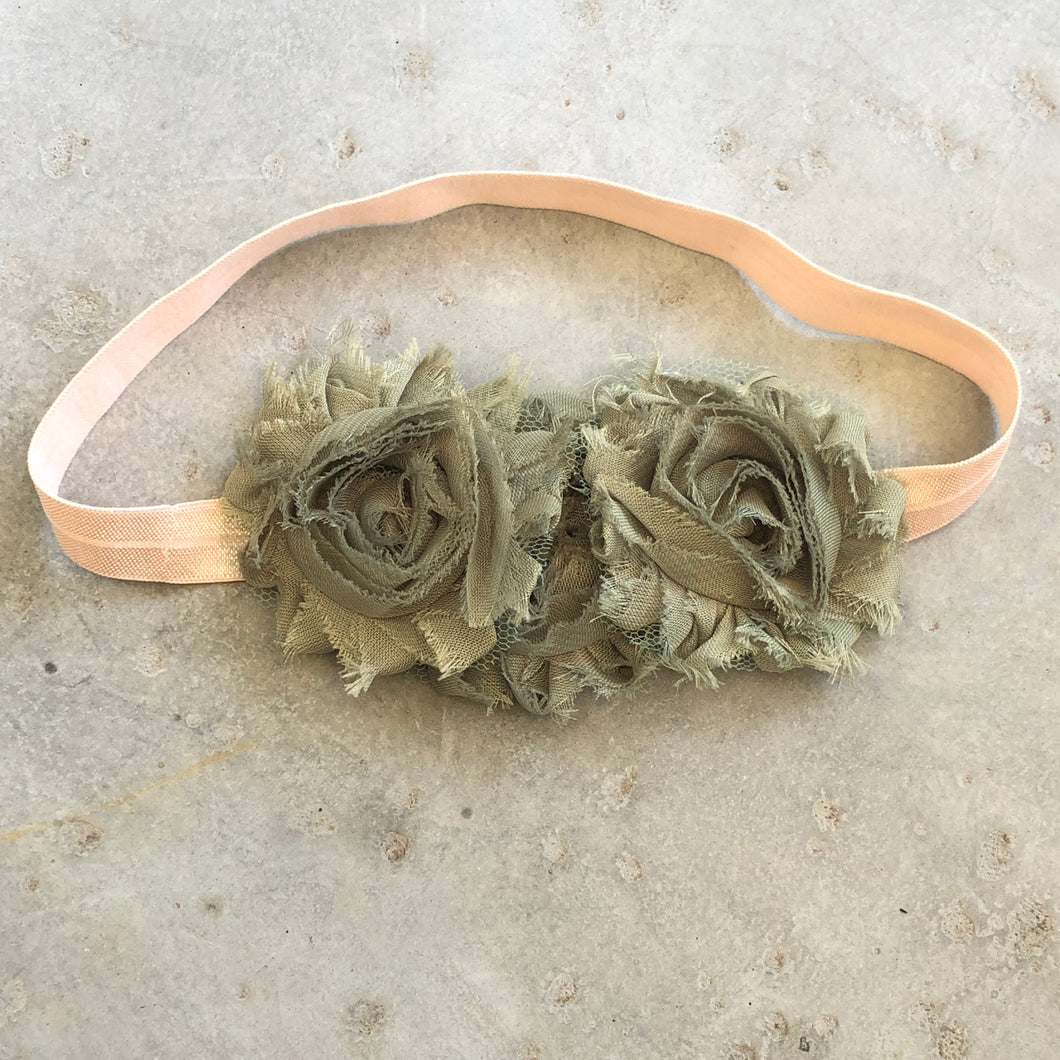 Three Flower Jade Headband - מטפחות - כיסוי ראש - Aviva Lush tichels, head scarves, volumizers