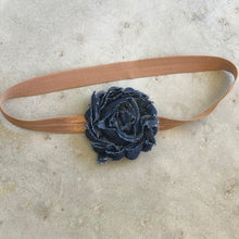 Load image into Gallery viewer, Single Denim Flower Headband - מטפחות - כיסוי ראש - Aviva Lush tichels, head scarves, volumizers