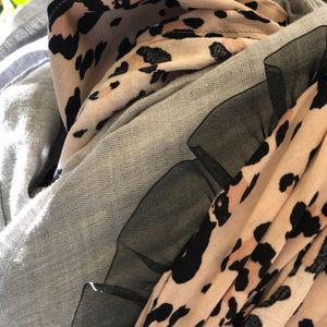 Twin Fabric Pink Leopard Print and Gray Linen Scarf - מטפחות - כיסוי ראש - Aviva Lush tichels, head scarves, volumizers