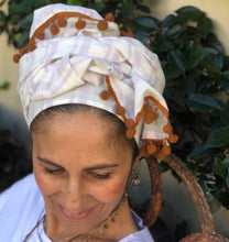 Load image into Gallery viewer, Lavender Striped Scarf with Brick Red Trim - מטפחות - כיסוי ראש - Aviva Lush tichels, head scarves, volumizers