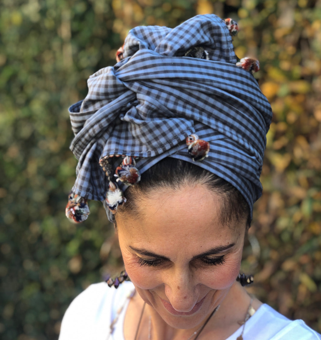 Blue Checked Line/Cotton Scarf - מטפחות - כיסוי ראש - Aviva Lush tichels, head scarves, volumizers