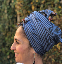 Load image into Gallery viewer, Blue Checked Line/Cotton Scarf - מטפחות - כיסוי ראש - Aviva Lush tichels, head scarves, volumizers