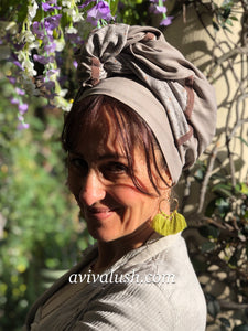 Variation of Twin Fabric Mushroom and Soft Floral Scarf - מטפחות - כיסוי ראש - Aviva Lush tichels, head scarves, volumizers