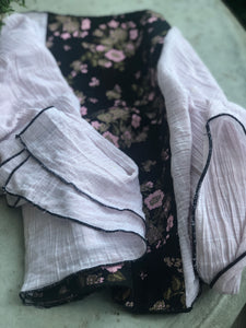 Variation of Twin Fabric White and Black Floral Scarf - מטפחות - כיסוי ראש - Aviva Lush tichels, head scarves, volumizers