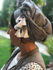 Gray Linen Scarf with White Tassels - מטפחות - כיסוי ראש - Aviva Lush tichels, head scarves, volumizers