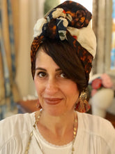 Load image into Gallery viewer, Triple Fabric Blue Floral, Orange Leopard Print and Cream Scarf - מטפחות - כיסוי ראש - Aviva Lush tichels, head scarves, volumizers