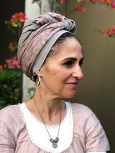 Load image into Gallery viewer, Twin Fabric Lilac Floral/Taupe Scarf - מטפחות - כיסוי ראש - Aviva Lush tichels, head scarves, volumizers