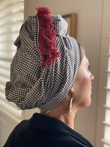 Gingham Cotton Scarf With Red Trim