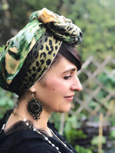Twin Fabric Green Leopard and Leaf Print Scarf - מטפחות - כיסוי ראש - Aviva Lush tichels, head scarves, volumizers