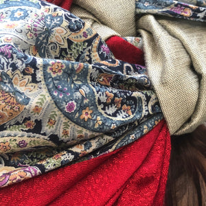 Triple Fabric, Taupe, Red, Blue Paisley Scarf - מטפחות - כיסוי ראש - Aviva Lush tichels, head scarves, volumizers