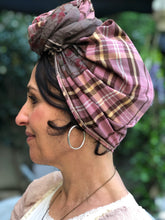 Load image into Gallery viewer, Twin Fabric Pink Checked/Brown Floral Scarf - מטפחות - כיסוי ראש - Aviva Lush tichels, head scarves, volumizers