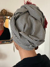 Load image into Gallery viewer, Gingham Cotton Scarf With Red Trim