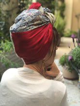 Load image into Gallery viewer, Triple Fabric, Taupe, Red, Blue Paisley Scarf - מטפחות - כיסוי ראש - Aviva Lush tichels, head scarves, volumizers