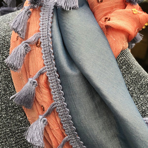 Triple Fabric, Tangerine, Gray/Blue and Silver Sparkle Scarf