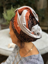 Load image into Gallery viewer, Triple Fabric Silver and Gold  Scarf with Burnt Orange