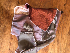 Variation of Four Fabric Pink Velvet and Chiffon Tasseled Scarf