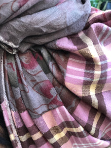 Twin Fabric Pink Checked/Brown Floral Scarf - מטפחות - כיסוי ראש - Aviva Lush tichels, head scarves, volumizers