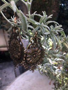 Antique Bronze Coloured  Earrings - מטפחות - כיסוי ראש - Aviva Lush tichels, head scarves, volumizers