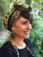Load image into Gallery viewer, Twin Fabric Green Leopard and Leaf Print Scarf - מטפחות - כיסוי ראש - Aviva Lush tichels, head scarves, volumizers