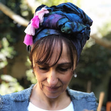 Load image into Gallery viewer, Variation of Tie Dyed Scarf in Blue with Pink tassels - מטפחות - כיסוי ראש - Aviva Lush tichels, head scarves, volumizers
