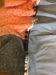 Variation of Tangerine, Gray/Blue and Silver Sparkle Scarf