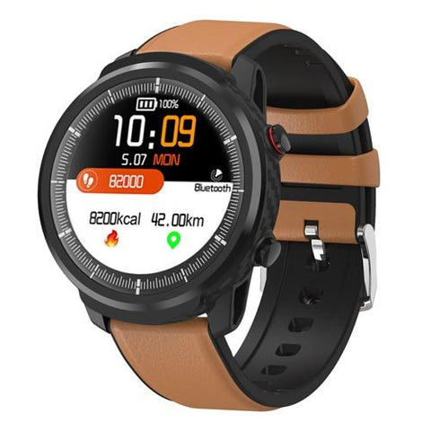Montre Cardio | Smartwatch Mixte4 Bracelet Cuir Tan | MacCaligan
