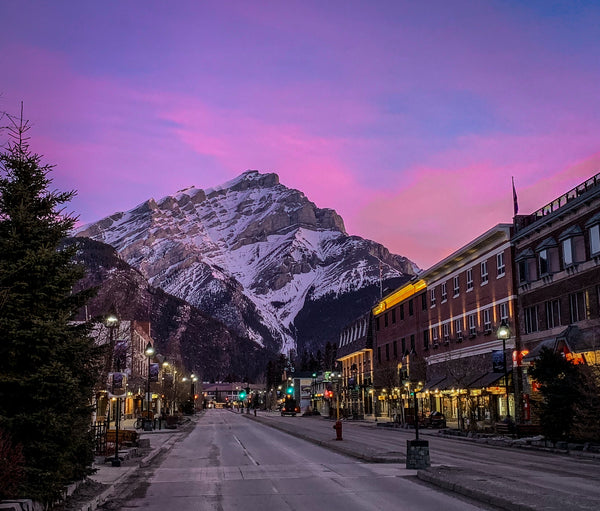 banff avenue sunrise with cascade mountain