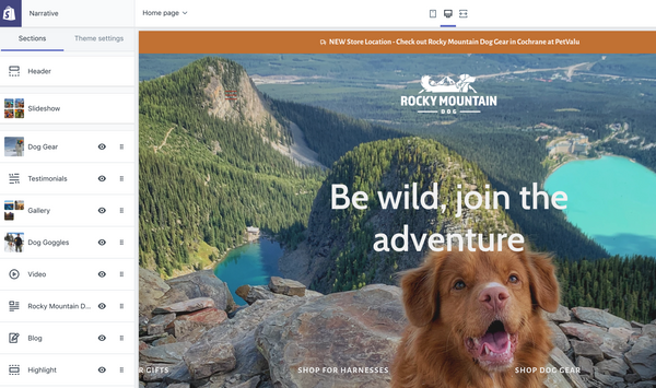 shopify admin area rocky mountain dog website