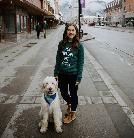 lady and dog in banff alberta