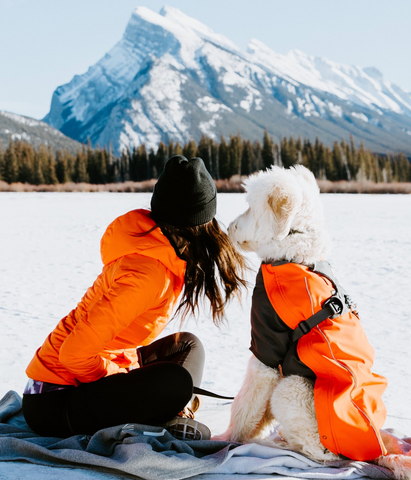 woman and dog at vermillion lakes