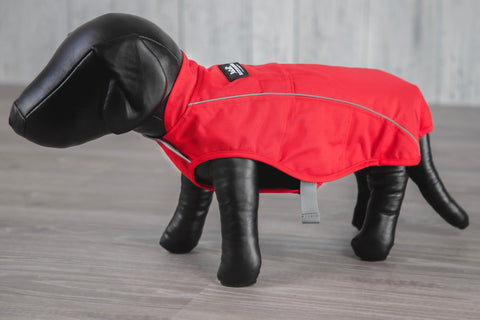 red winter dog jacket coat on model dog