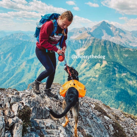female and dog on mountain wearing rmd crewneck sweater