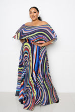 Load image into Gallery viewer, Geo Printed Off Shoulder Pleated Maxi Dress