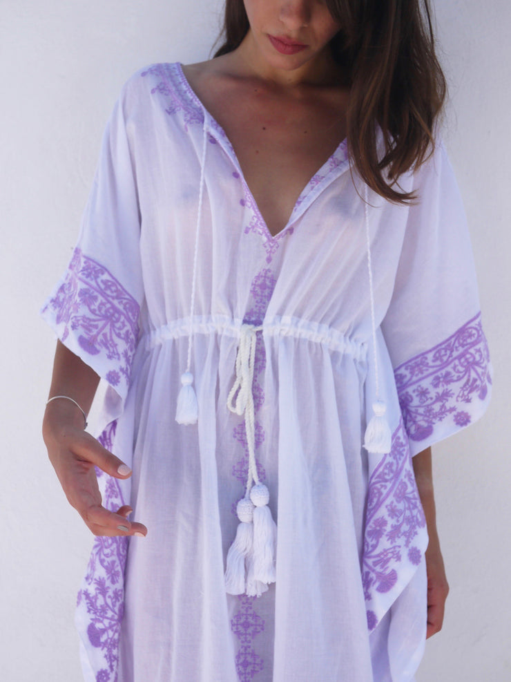 Aphrodite Long Embroidered Kaftan with Evil Eye - Lavender