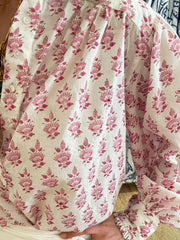 Zoe Blouse - Mini Petals Pink and Cocoa with Embroidered French Knots