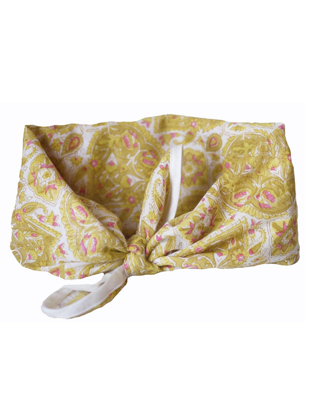 Blockprint Bandana in Nettie Marigold with Rose Pink Fleks