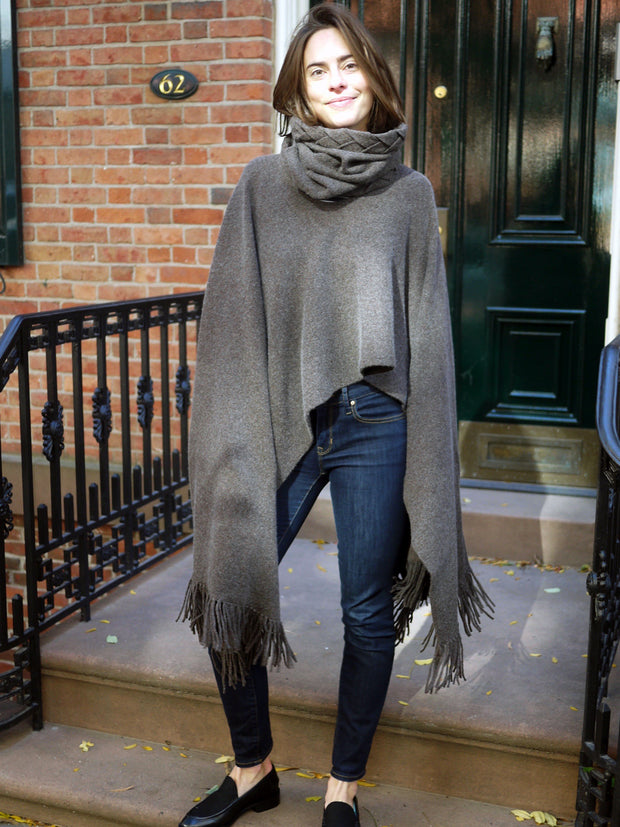 Cashmere Wool Fringe Poncho - Cocoa/Brown