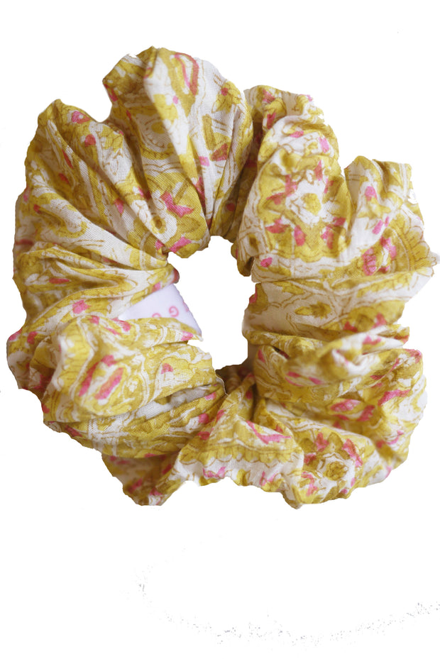 Blockprint Hair Scrunchie in Nettie Marigold with Pink Fleks