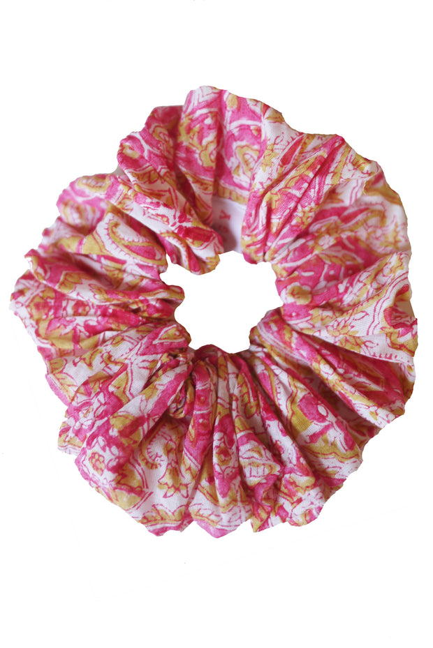 Blockprint Hair Scrunchie in Nettie Pink with Marigold Fleks