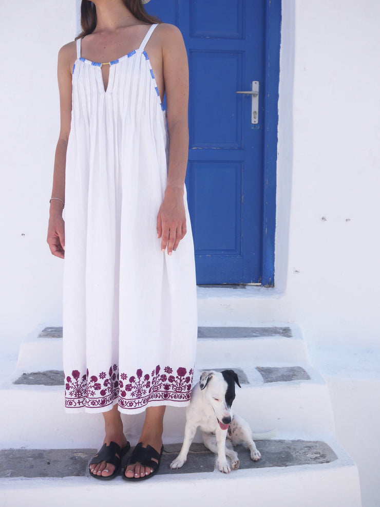 Cretan with Silk Embroidery Linen Dress
